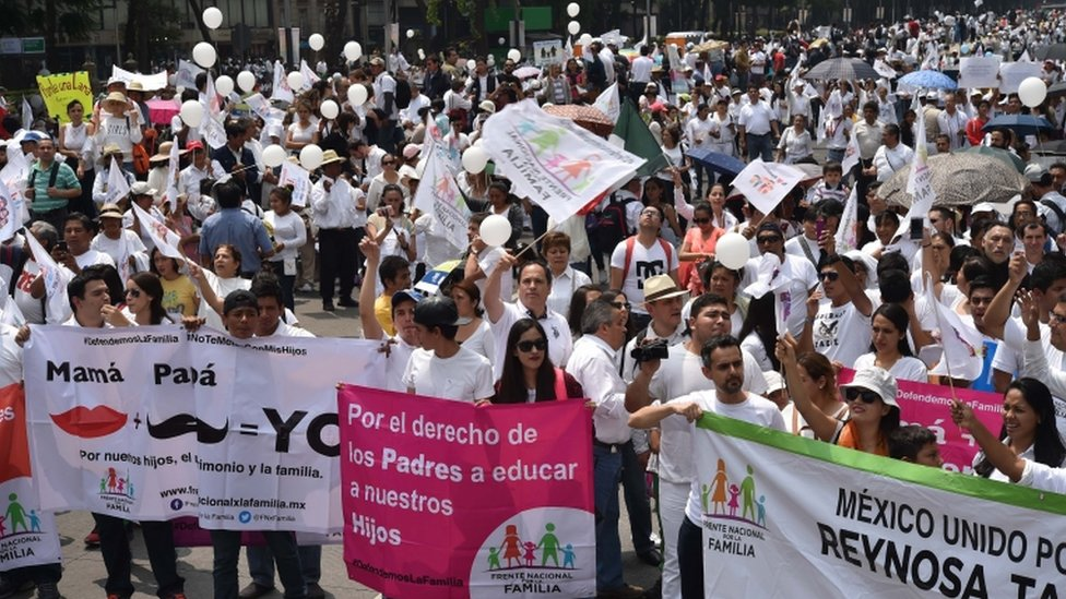 """Members of the National Front for the Family marched in Mexico City to protest President Enrique Pena Nieto""""s initiative to legalize gay marriage"""