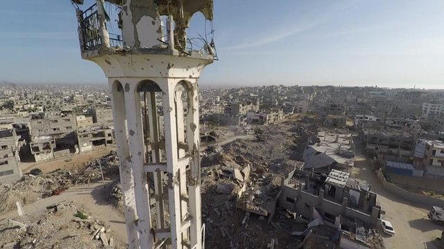 UAV shots of the Shejaiya district of Gaza one year after the conflict