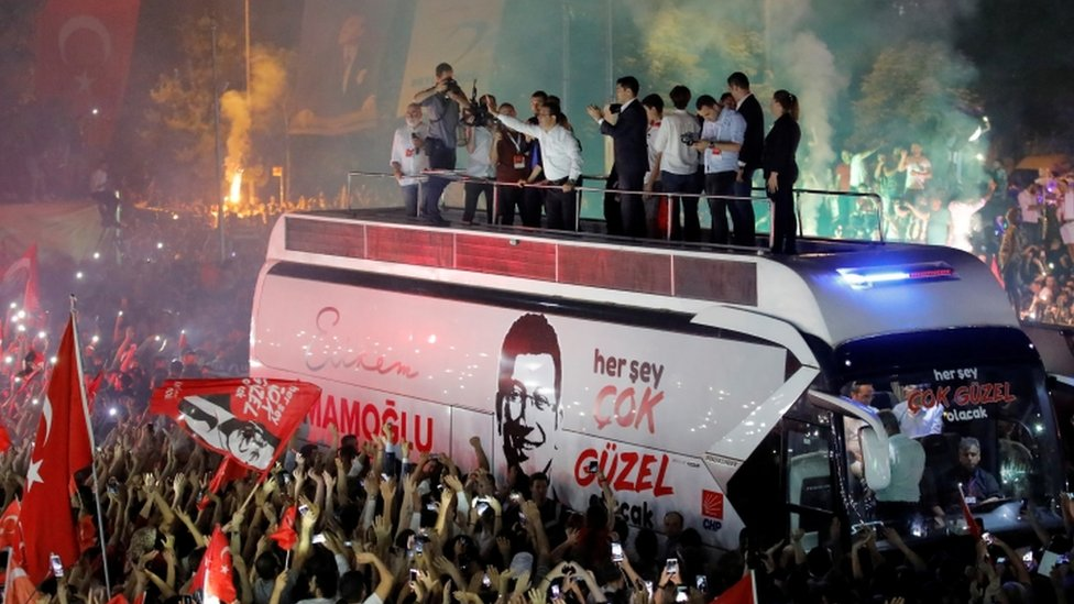 Ekrem Imamoglu at a rally in Istanbul