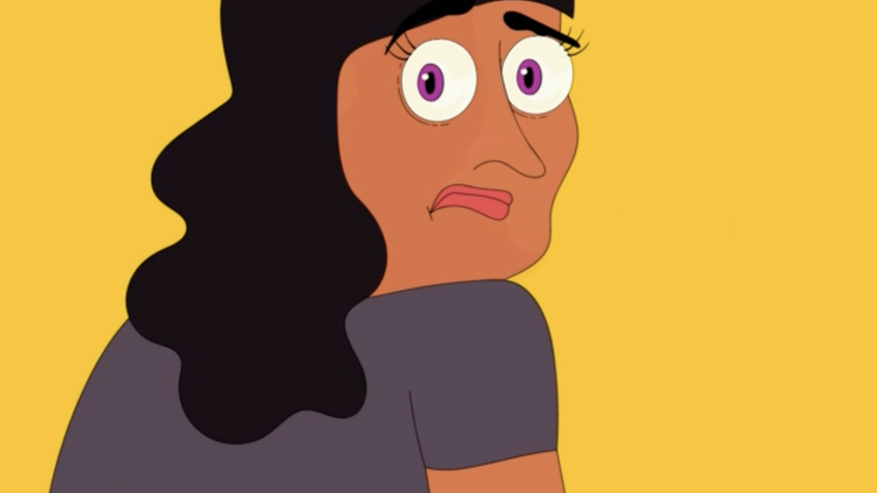 A woman looks worried