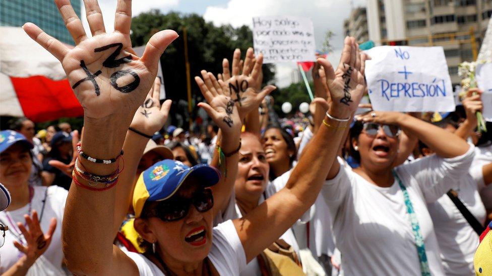 women march in Caracas