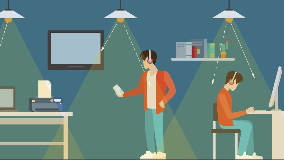 Ilustración con gente conectada a internet a través de la luz de las lámparas.