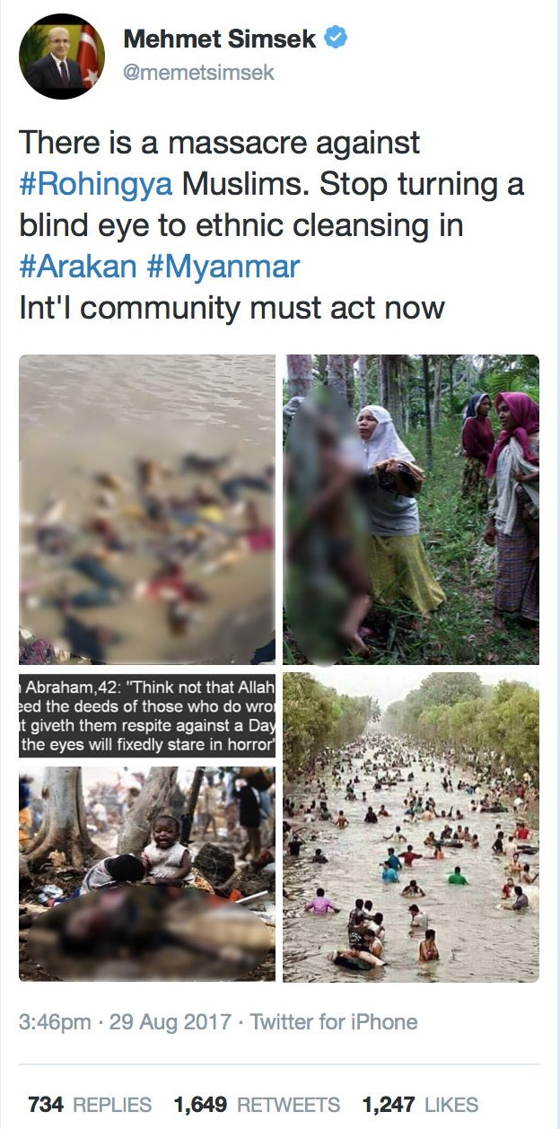 """Tweet by Mehmet Simsek including four images. Text says """"There is a massacre against #Rohingya Muslims. Stop turning a blind eye to ethnic cleansing in #Arakan #Myanmar Int'l community must act now"""""""