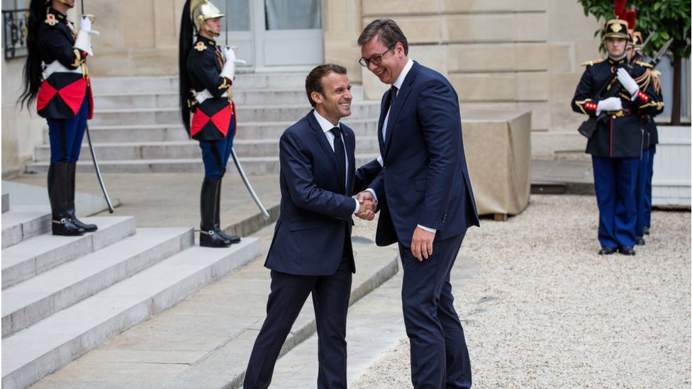 Emanuel Makron i Aleksandar Vučić u Parizu, 2018.