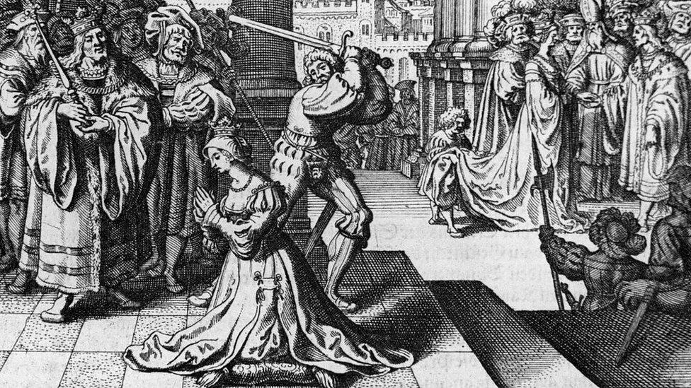 Grabado de la decapitación de Ana Bolena