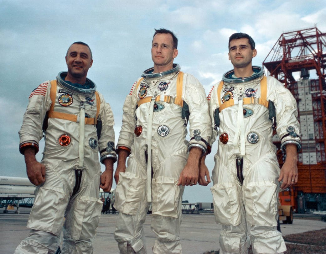 Gus Grissom, Edward White y Roger Chaffee, tripulación de Apollo 1