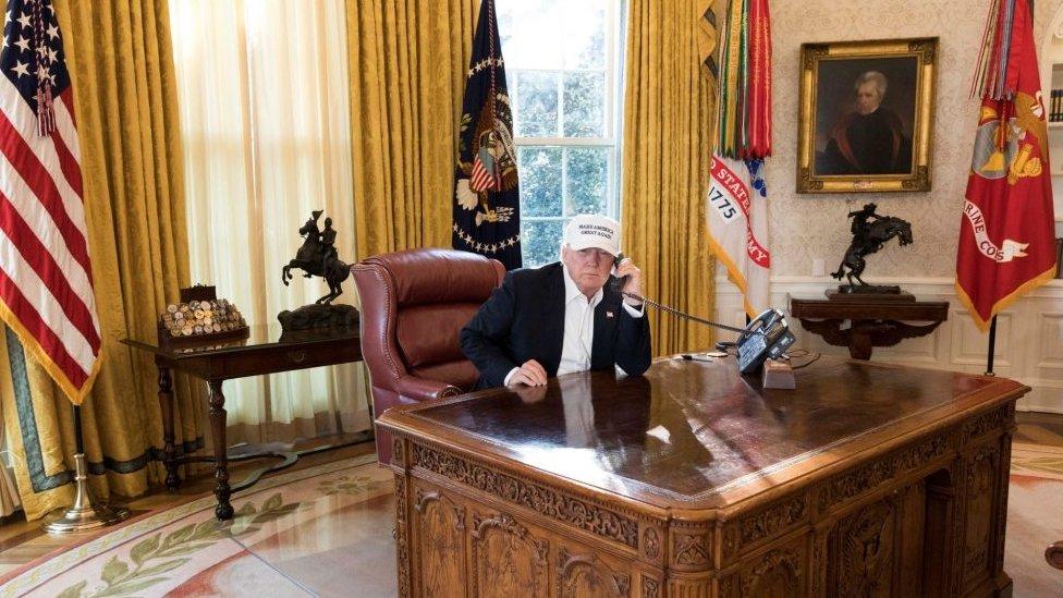 Trump en el despacho oval en 2018.