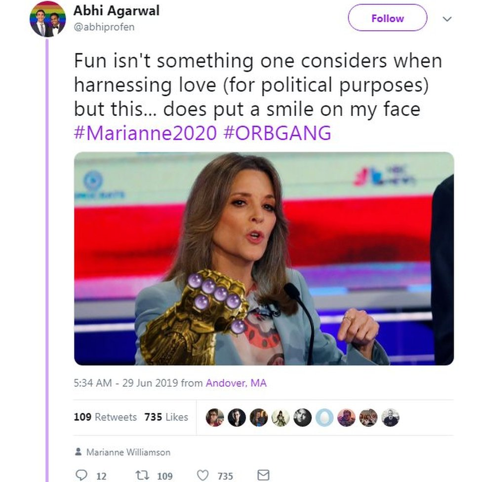 A Twitter screenshot which shows Marianne Williamson wearing Thanos' Infinity Gauntlet from Avengers: Endgame