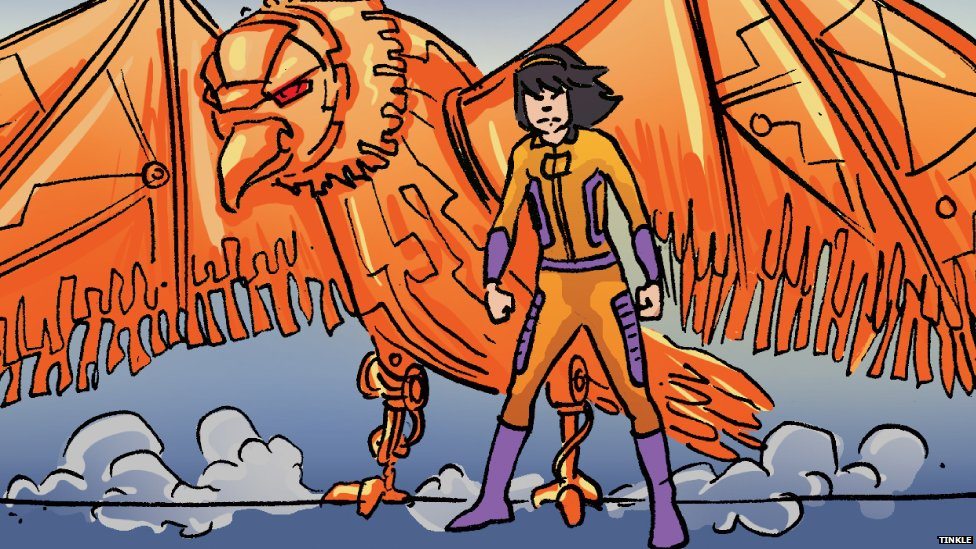 Maya derives her powers from a robotic falcon called Psy