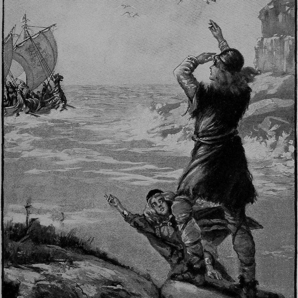 """Grabado de los exploradores islandeses, Thorfinn Karlsefni y Gudrid Thorbjarnardottir, del libro """"Héroes errantes"""" de Lillian Louise Price, 1902."""