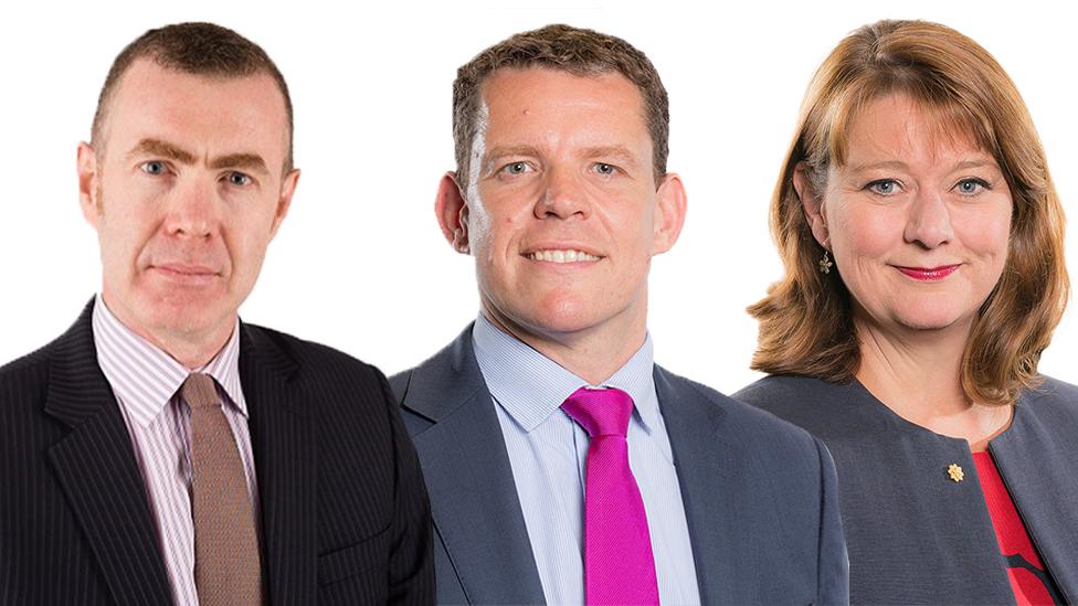 Adam Price (l), Rhun ap Iorwerth (c) and Leanne Wood (r)