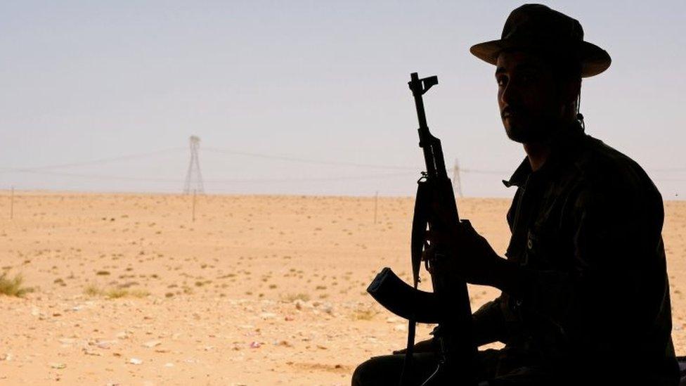 Soldier in the forces of Gen Haftar in Libya