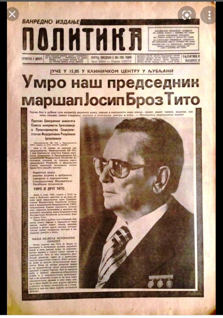 Recorte de periódico con la noticia de la muerte de Tito.