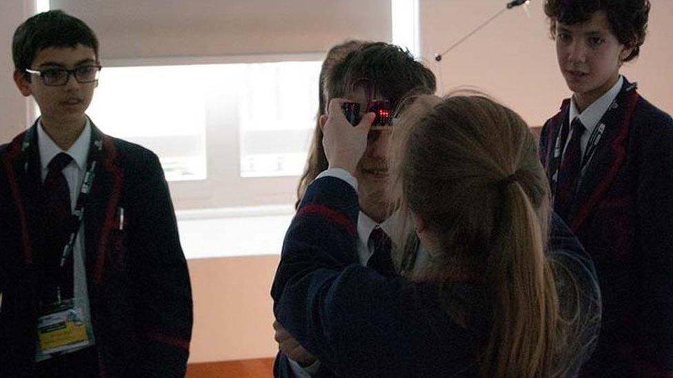 Micro Bit being demoed by Highgate School pupils