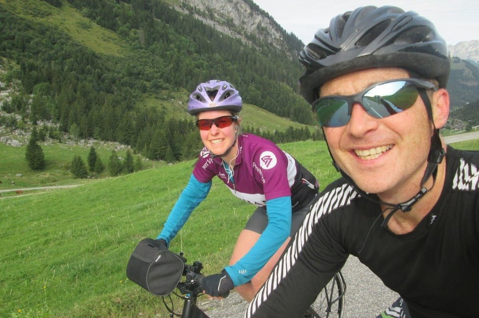 Selfie of Dan and Esther cycling