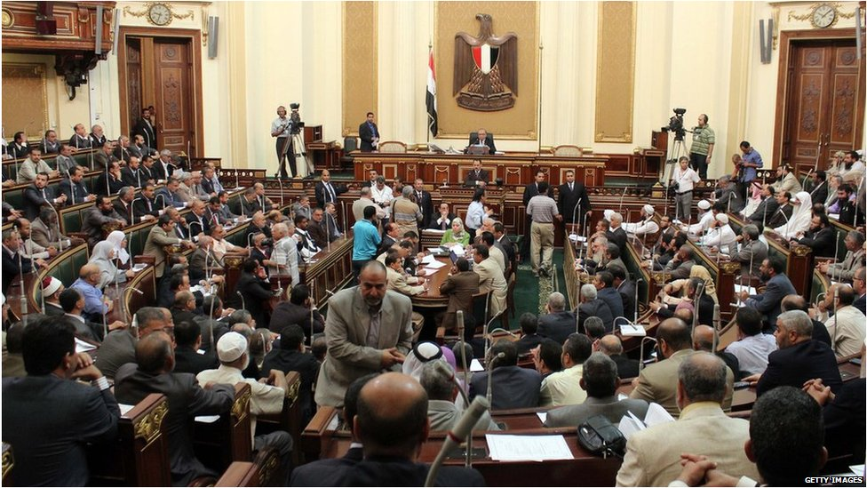 A general view show the first session of the Egyptian parliament in Cairo on July 10, 2012