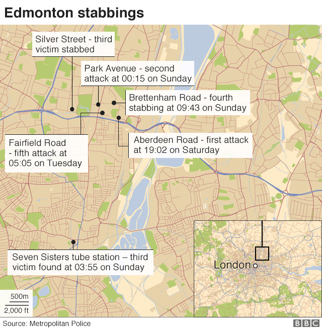 Map of where the attacks took place