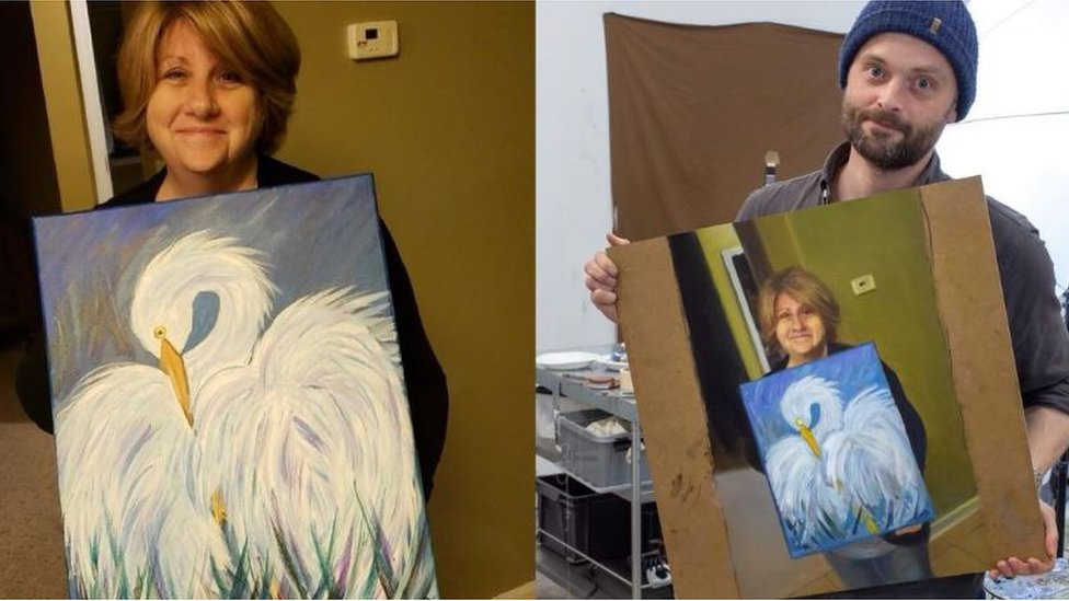 The woman who painted the man who painted the woman who painted the bird