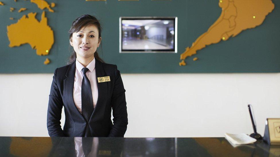 Receptionist at North Korea's Changgwangsan Hotel