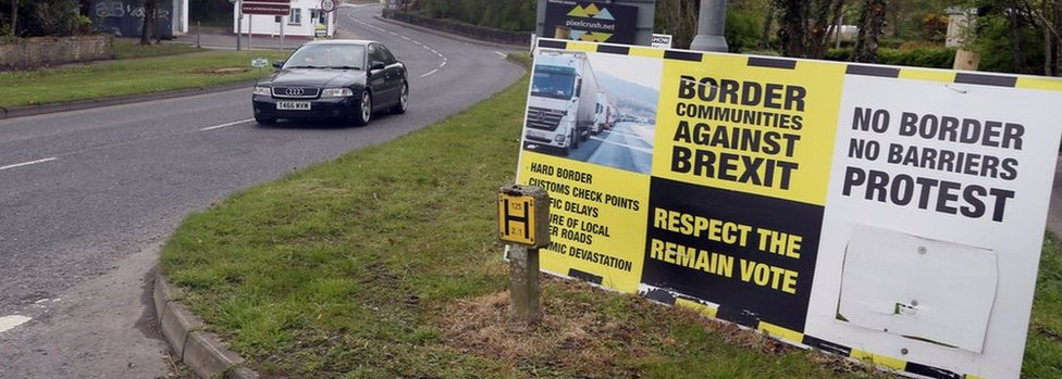 Anti-Brexit posters on border, Co Donegal - file pic