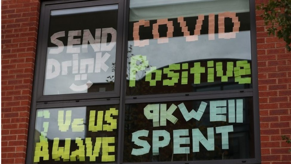 A window full of messages at Manchester Metropolitan University