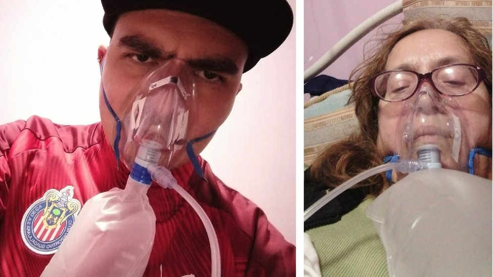David y su madre María de Lourdes con respirador