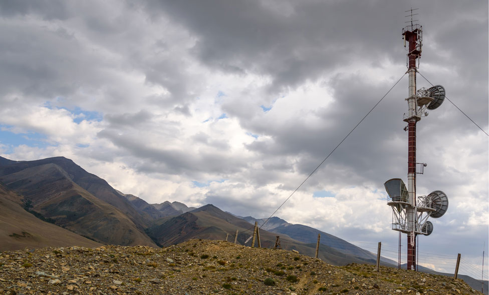 A telephone mast up in mountains