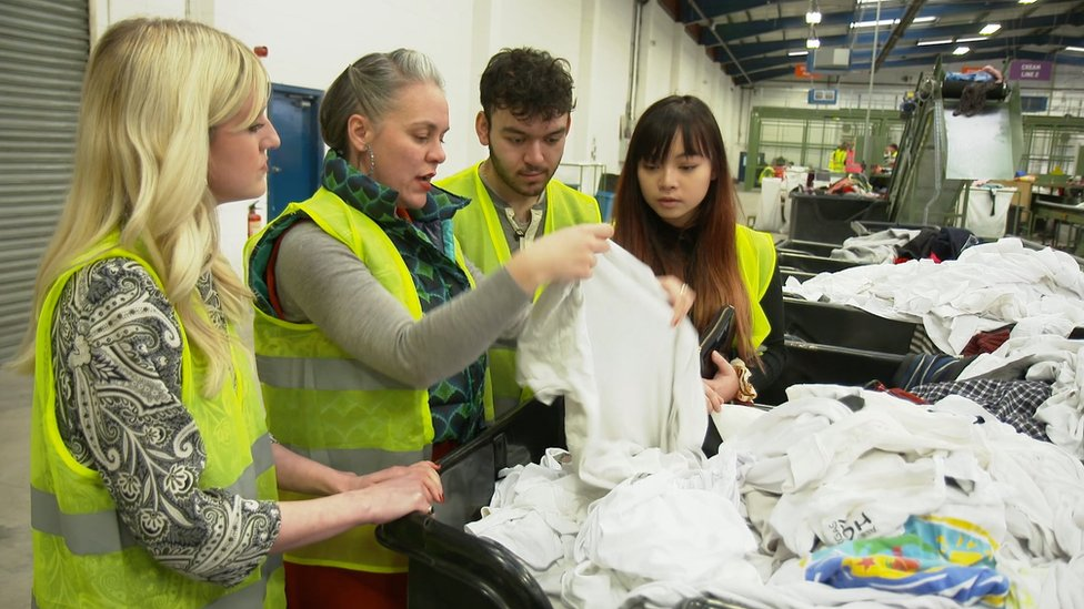 Marcus, Gobi, Holly and Alice at the Oxfam recycling centre