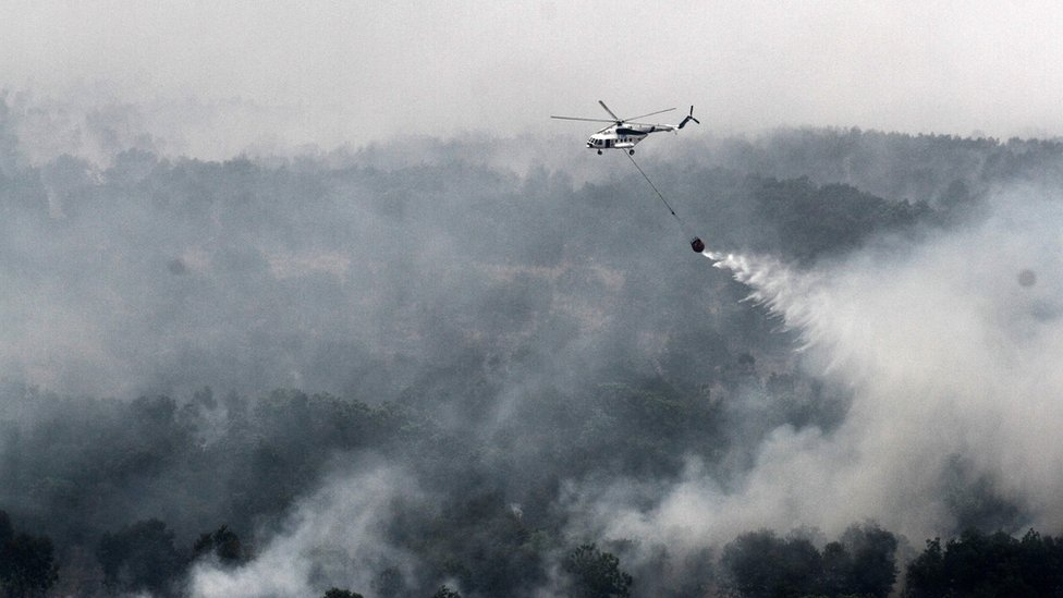 A MI-17 helicopter run by the Indonesian National Disaster Mitigation Agency conducting water-bombs on a fire spot in Ogan Komering Ilir area in South Sumatra province on 17 October 2015.