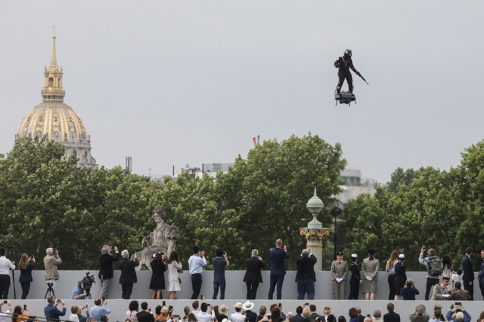 French inventor Franky Zapata flies a jet-powered hoverboard