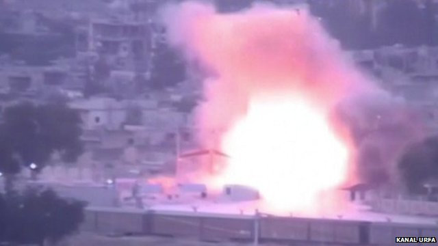 CCTV footage showing moment car bomb explodes in Kobane