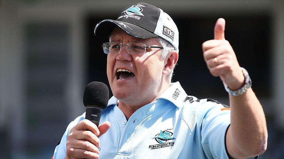 Scott Morrison addresses the crowd during the Cronulla Sharks NRL Grand Final celebrations, 2016