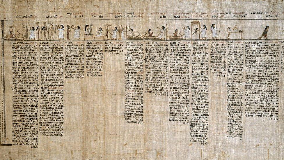 """بردية لنصوص كتاب """"الخروج إلى النهار"""" ضمن مقتنيات متحف تورينو في إيطاليا"""