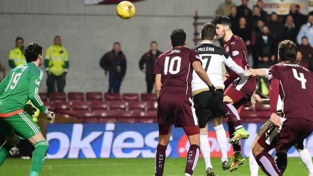 Callum Paterson heads Hearts in front at Tynecastle