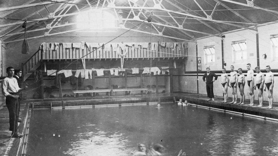 The swimming bath, Royal Navy training establishment, Shotley, Suffolk, 1936.