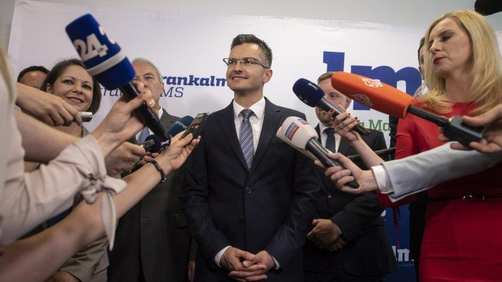 The anti-establishment LMS party of Marjan Sarec is second
