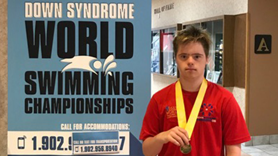 Dylan at the swimming world championships