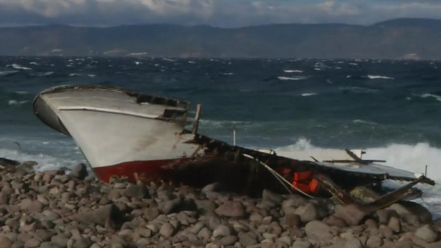 Wrecked boat on a beach