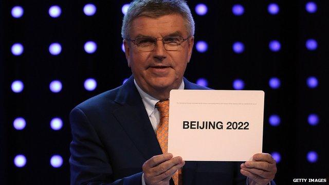 IOC president Thomas Bach announces Beijing as host city for the 2022 Winter Olympics