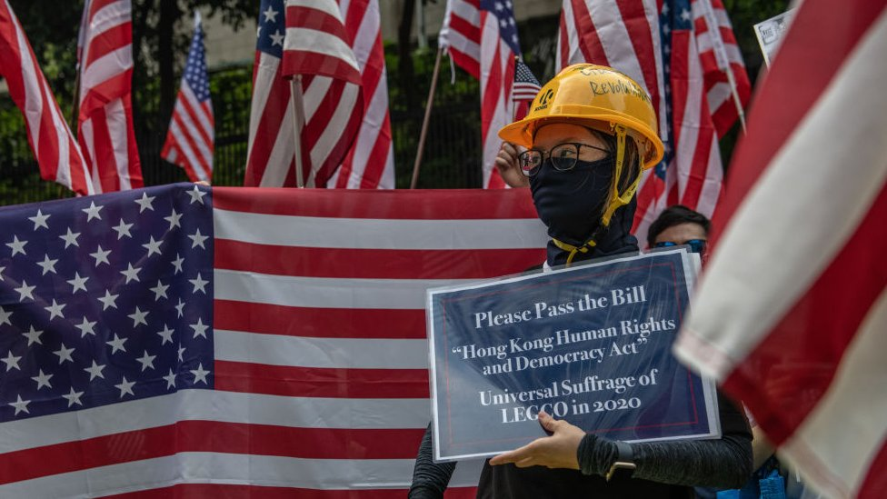香港示威者希望美國國會通過《香港人權及民主法案》