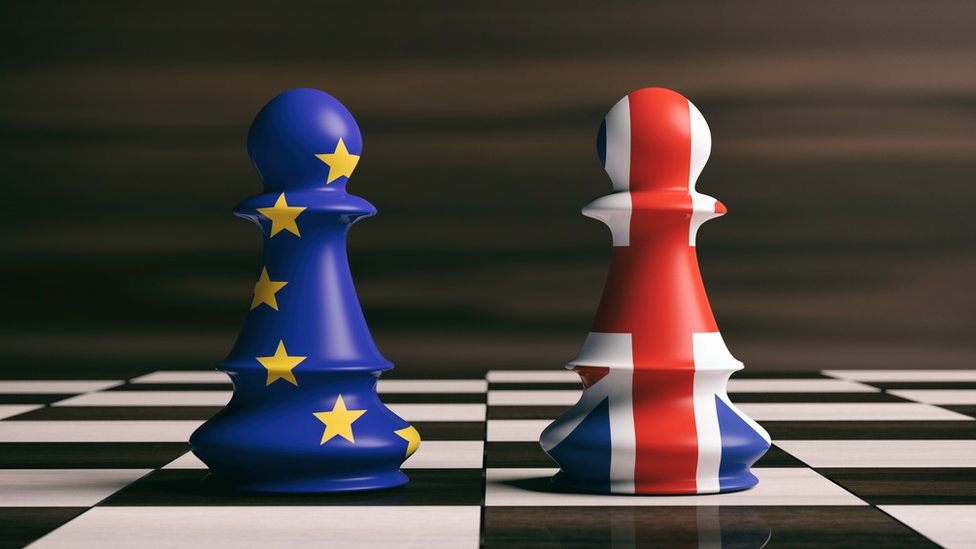 Chess pieces in EU and UK union flag colours