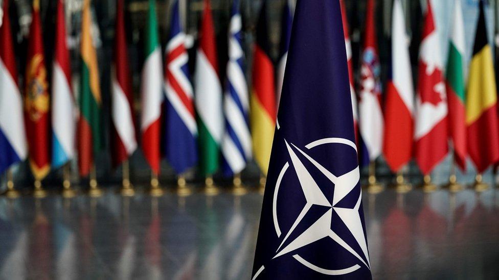 Bandera de la OTAN frente a otras de los países miembros