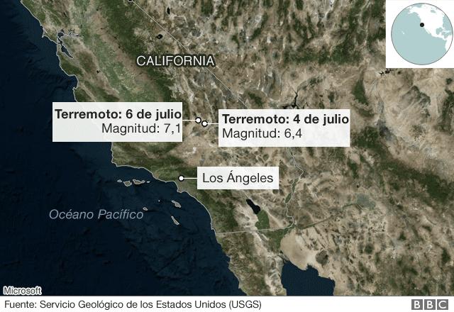 Mapa con la ubicación de los últimos dos grandes terremotos,