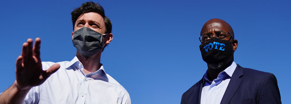Two Democratic challengers Jon Ossoff and Rev Raphael Warnock