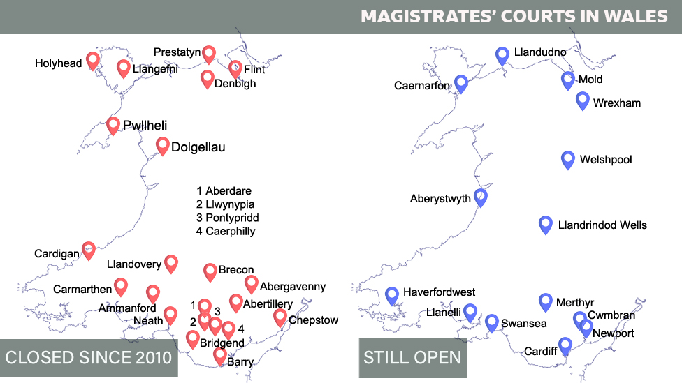Map of 22 magistrates' courts closed since 2010 and 14 still open