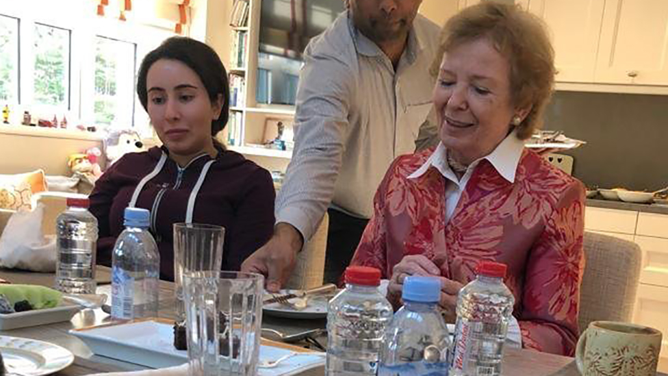 Mary Robinson alongside Latifa at the lunch