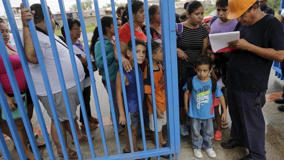 Evacuated residents arrive at shelter in University of Puerta Vallarta - 23 October