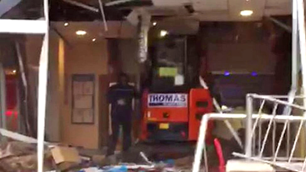 Travelodge Liverpool: Digger driver wrecks hotel reception