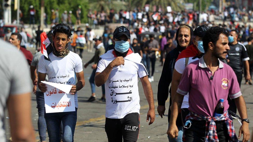 متظاهرون عراقيون