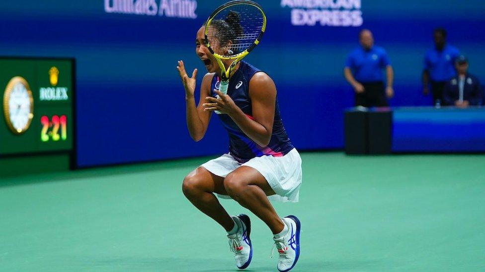 Leylah Fernandez celebrates reaching the US Open final on 9 Sept